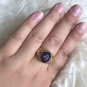 Fashion Size8 Amethyst yellow 10K Gold Filled Ring